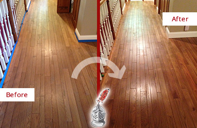 Before and After Picture of a Rosemont Wood Sandless Refinishing Service on a Worn Out Floor