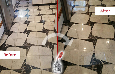 Before and After Picture of a Dull Gages Lake Marble Stone Floor Polished To Recover Its Luster
