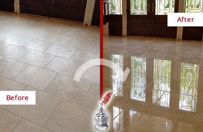 Before and After Picture of a Dull Gages Lake Travertine Stone Floor Polished to Recover Its Gloss