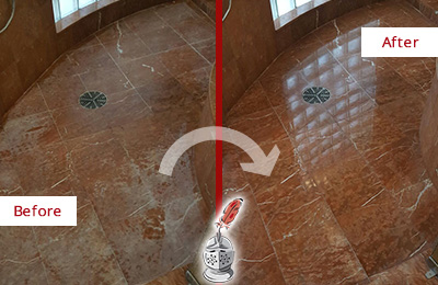 Before and After Picture of a Bannockburn Marble Stone Shower Polished to Eliminate Mineral Deposits