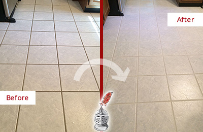 Before and After Picture of a Lindenhurst Kitchen Ceramic Floor Sealed to Protect From Dirt and Spills