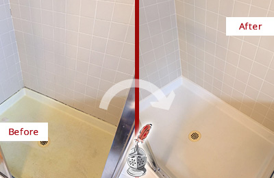 Before and After Picture of a Lindenhurst Shower Sealed to Remove and Protect Against Mold