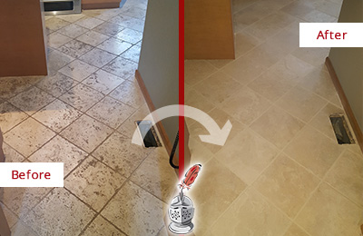 Before and After Picture of a Willow Springs Kitchen Marble Floor Cleaned to Remove Embedded Dirt