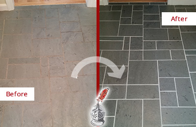 Before and After Picture of a Third Lake Slate Floor Cleaned to Remove Deep-Seated Dirt