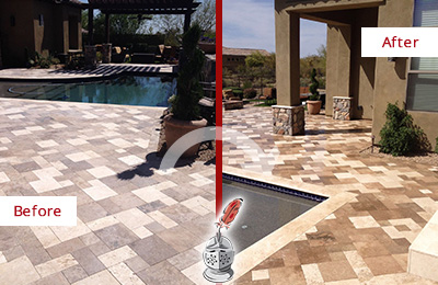 Before and After Picture of a Dull Third Lake Travertine Pool Deck Cleaned to Recover Its Original Colors