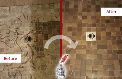 Before and After Picture of a Stained Willow Springs Marble Shower Floor Cleaned to Remove Etching