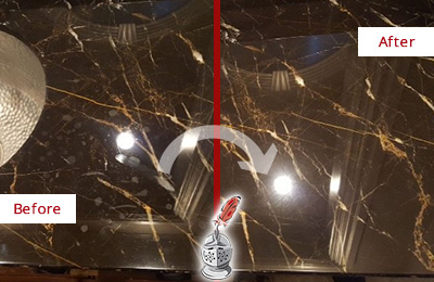 Before and After Picture of a Willow Springs Marble Countertop Cleaned to Remove Water Spots