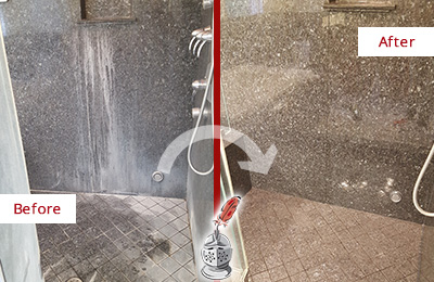 Before and After Picture of a Aurora Granite Shower Stone Sealed to Avoid Mineral Deposits