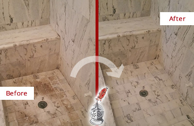 Before and After Picture of a Calumet City Marble Shower Honed to Remove Dark Stains