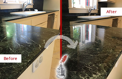 Before and After Picture of a Barrington Marble Kitchen Countertop Honed to Remove Water Marks