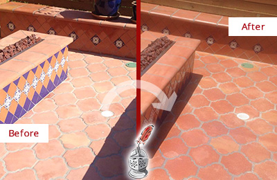 Before and After Picture of a Lansing Hard Surface Restoration Service on a Dull Terracotta Patio Floor to Recover Its Color