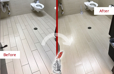 Before and After Picture of a Darien Office Restroom's Grout Cleaned to Remove Dirt