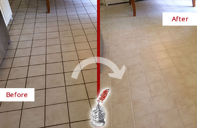 Before and After Picture of a Forest Lake Kitchen Tile Floor with Recolored Grout