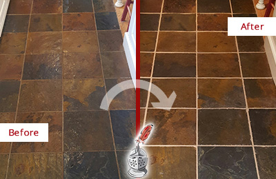 Before and After Picture of a Bannockburn Slate Floor Recolored Grout