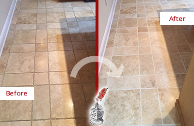 Before and After Picture of a Forest Lake Travertine Kitchen Floor Recolored Grout