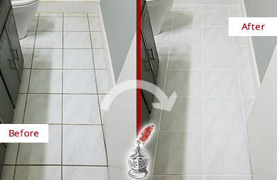 Before and After Picture of a Forest Lake White Ceramic Tile with Recolored Grout