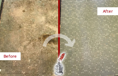 Before and After Picture of a Round Lake Beach Mosaic Shower Cleaned to Eliminate Embedded Dirt